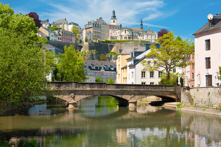 View of Luxembourg city in a sunny summer day Foto de archivo