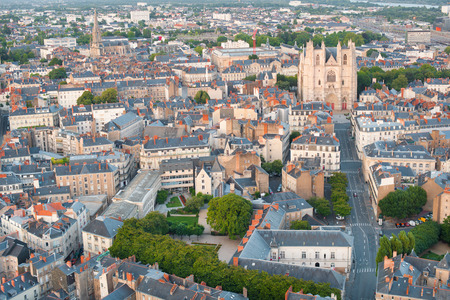 Cityscape of Nantes at a cloudy summer day