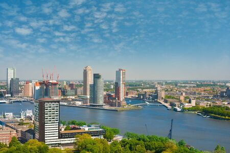 maas: A view on Rotterdam and Nieuwe Maas river in a summer day