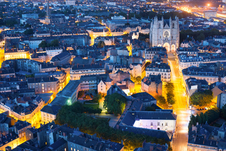 Aerial view of Nantes at a summer night