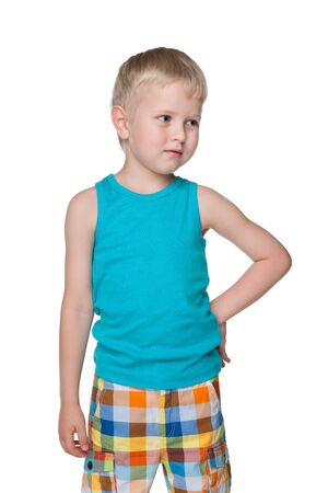 blond boy: A portrait of a curious blond little boy on the white background