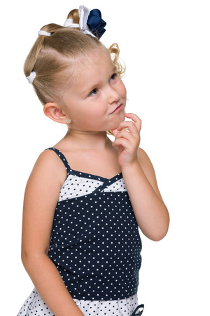 ponder: A portrait of a cute blonde little girl on the white background