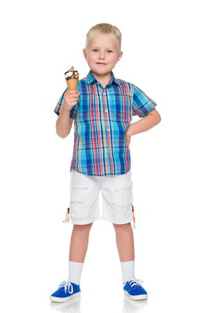 ice cream stand: A smiling little boy holds ice cream on the white background