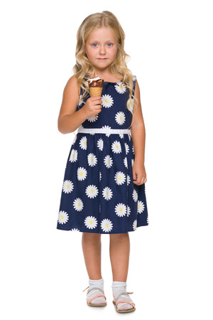 cool kids: A blonde little girl with ice cream on the white background