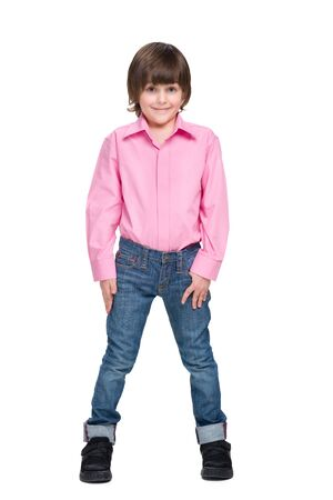 fashion boy: A fashion little boy stands on the white background Stock Photo