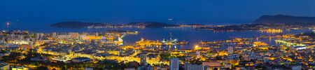 toulon: Panorama of Toulon in a summer night