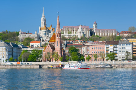 buda: Cityscape of Budapest in a spring morning Stock Photo