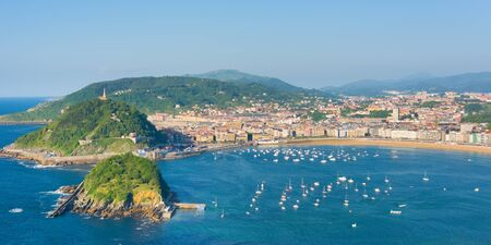 san sebastian: View of San Sebastian in a summer evening Stock Photo