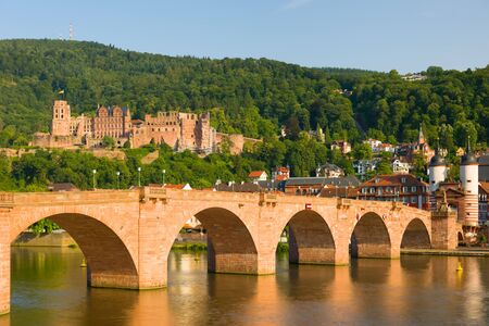 building exteriors: View of Heidelberg in a summer evening