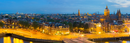 Panoramic view of night Amsterdam