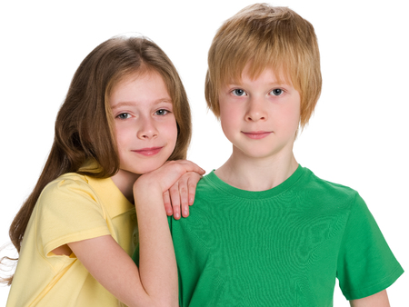 two children: A portrait of two children on the white background Stock Photo