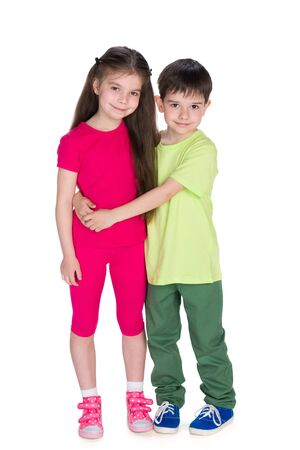 child boy: Two smiling children stand together