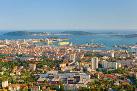 toulon: Cityscape of Toulon in a spring evening