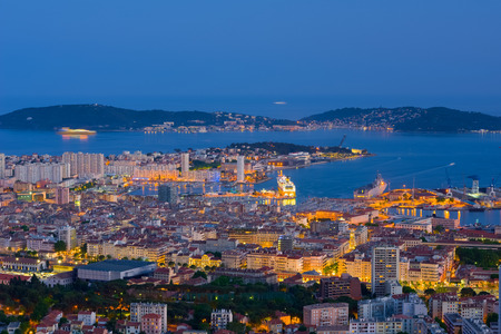 toulon: Cityscape of Toulon in a spring night