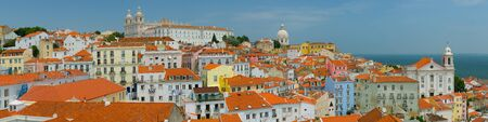 panoramic: Cityscape of Lisbon in a summer day