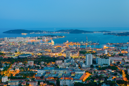 Cityscape of night Toulon at spring Standard-Bild