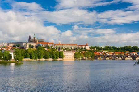 vltava: Prague and the Vltava river in a summer day