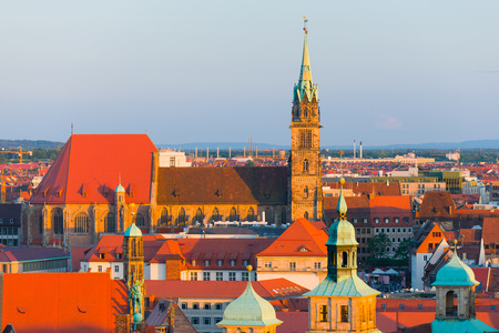 old city: Cityscape of Nuremberg at sunset time