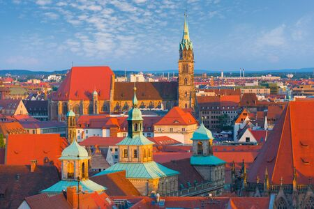nuremberg: View of Nuremberg in the summer evening Stock Photo