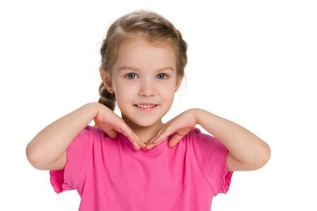 A portrait of a happy little girl against the white background