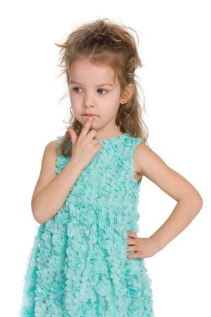 to ponder: A portrait of a thinking little girl on the white background
