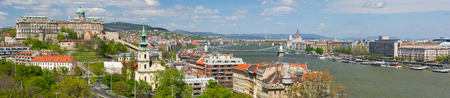Panorama of Budapest in a cloudy spring morning