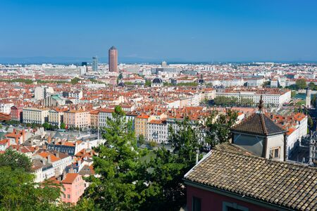 Cityscape of Lyon in a sunny summer day