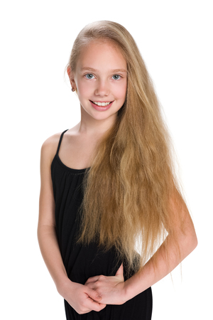 A portrait of a girl with flowing hair on the white background