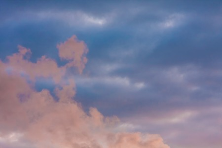 Natural dramatic sky with pink cloud photo