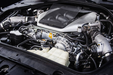 car hood: Sport car high tech powerful engine
