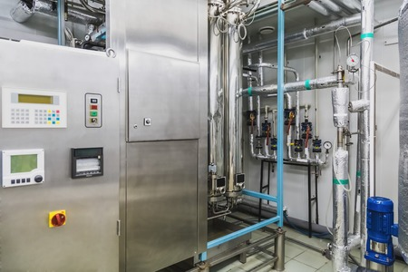 distillation: Water conditioning or distillation room and control panel equipment on pharmaceutical industry or chemical plant