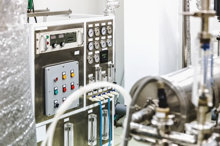 distillation: Control panel equipment on water conditioning or distillation room on pharmaceutical industry or chemical plant Stock Photo