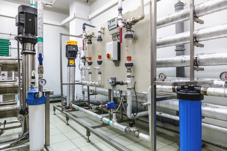 Control panel equipment on water conditioning or distillation room on pharmaceutical industry or chemical plant Archivio Fotografico