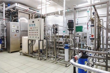Water conditioning room and control way equipment on pharmaceutical industry or chemical plant Foto de archivo