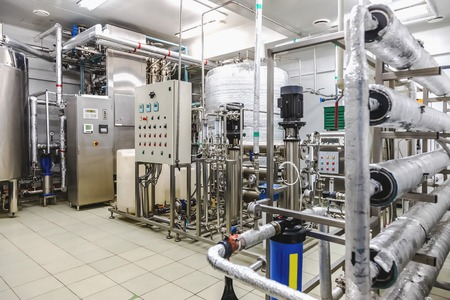 chemical plant: Water conditioning room and control way equipment on pharmaceutical industry or chemical plant Stock Photo