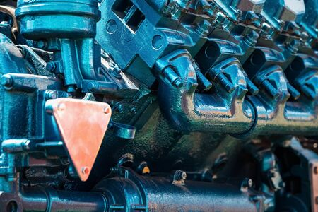 agriculture machinery: Tractor engine closeup agriculture machinery industry. Selective focus of image