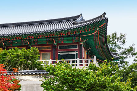 Traditional Korean Architecture Old Building Or Monks Temple In South Korea Photo