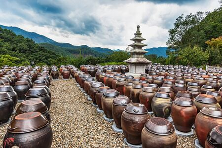 south korea: Traditional buddhist monks metal brown pots in South Korea