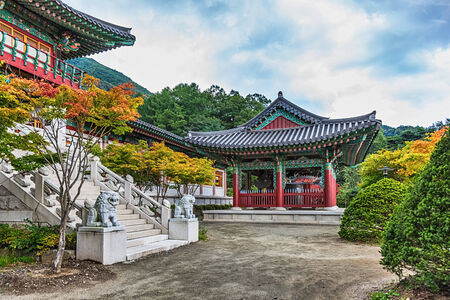 Traditional Korean Architecture Old Building Or Monks Temple In South Korea At Autumn Photo