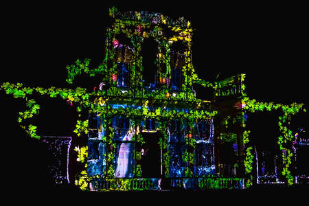 wilanow: Illuminated Facade of Palace or Old Building. Video-Mapping show on the Facade of Wilanow Palace