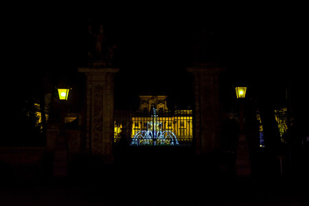 wilanow: View on Entrance Gate and Glowing Fountain in Front of Wilanow Palace