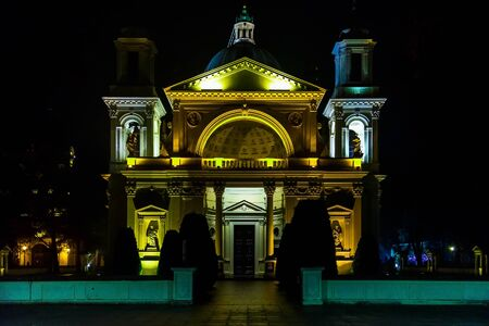 wilanow: Saint Annes Church in Wilanow District at Night