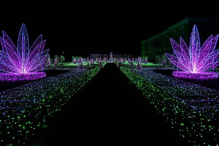 wilanow: View on Royal Garden of Light with Road at Wilanow Palace Stock Photo