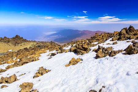 horison: View on Teide National Park Landscape from Top of Volcano and the highest place in Europe on Tenerife Canary Island in Spain Stock Photo