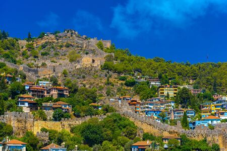 Ancient Castle and buildings on top of mountains in Alanya, Turkey Archivio Fotografico