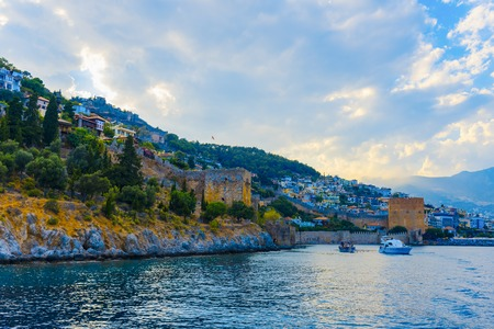 Landscape of ancient dockyard near of Old Red Tower in Alanya, Turkey
