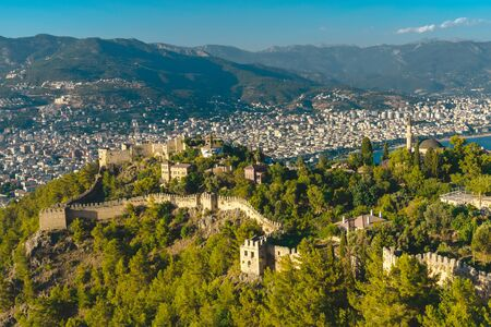 Panoramic view on Alanya city with castle on hill in Turkey Archivio Fotografico