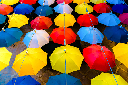 Decoration with open colorful umbrellas in Alanya, Turkey
