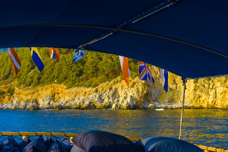 Sea trip on board of sailboat with views of sea and mountains in Alanya, Turkey Archivio Fotografico