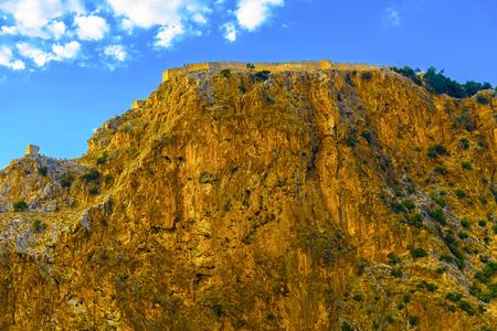 Castle wall on mountainl on sky background in Alanya, Turkey